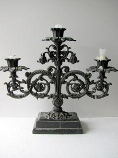 Vintage Gothic Baroque French Iron Candelabra by ADoseOfAlchemy, $165.00
