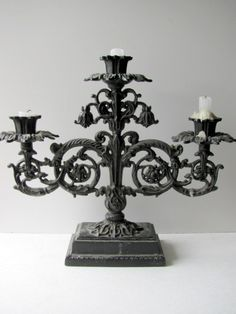 Vintage Gothic Baroque French Iron Candelabra
