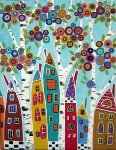 Purchase framed prints from Karla Gerard. All Karla Gerard framed prints are ready to ship within 3 - 4 business days and include a money-back guarantee. Doodle Art, Karla Gerard, Art Fantaisiste, Art Populaire, House Quilts, Naive Art, Whimsical Art, Art Plastique, Landscape Art