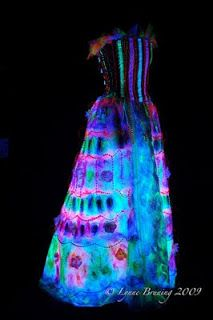 Lynne Bruning // created by Lynne Bruning for Mrs. Mary Atkins. The dress is actually wearable e-textile made from Angelna fiber, silk organza, 110 UV LED lights and conductive thread.