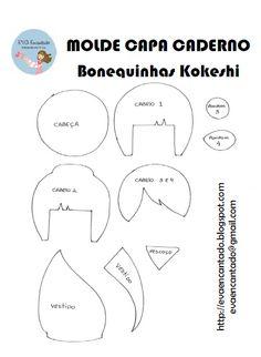 EVA Encantado: Bonequinha Kokeshi - Capa de Caderno com Molde