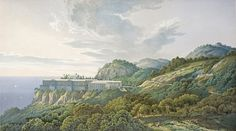Perspective of the Palace Complex in its Landscape Setting, Viewed from Inland. From Palaces, a set of prints of the Palace on the Akropolis in Athens, and the Orianda Palace in the Crimea - Heinrich Mutzel Karl Friedrich Schinkel