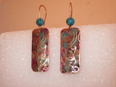 Teal with hints of Fushia on Copper  Embossed by UncommonCouture, $23.00