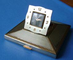 Art Deco Vintage Powder Compact Clock Signed Amere by VintageTrue, $195.00