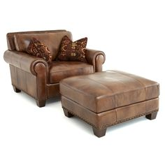 Sanremo Top Grain Leather Chair and Ottoman Set by Greyson Living