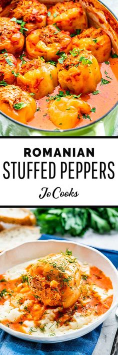 I grew up with these Romanian Stuffed Peppers (Ardei Umpluti) and to this day it's one of my favorite dishes ever. Using sweet yellow Hungarian peppers, stuffed with a mixture of ground pork, rice and Sicilian Recipes, Turkish Recipes, Greek Recipes, Meat Recipes, Vegetarian Recipes, Chicken Recipes, Healthy Recipes, Ethnic Recipes, Yummy Recipes