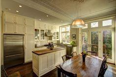 Park Slope Brownstone - traditional - Kitchen - New York - Ben Herzog - narrow island Kitchen Cabinet Design, Kitchen New York, Craftsman Style Kitchen, Beautiful Kitchens, Kitchen Cabinet Styles, Kitchen Design, Kitchen Remodel, Kitchen Window Design, Rustic Kitchen