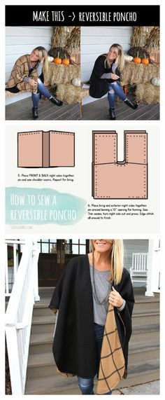 GETTING READY FOR FALL! Woot woot - Reversible Poncho DIY
