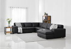 Augustine Leather Corner Lounge Suite | Super Amart