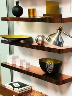 copper IKEA Lack shelves hack for a stylish space