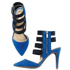 """Accent with a pointy-toe heel (in so-in indigo) featuring big-time straps. FEATURES • Blue pointy-toe heels with blue trim along edge and heel• Four black elastic straps along foot and two in the back• Silverotne zipper on side for easy on/off• 3 1/2"""" heel • Half sizes order up MATERIALS • Upper: Real suede and elastic• Lining: PU (Polyurethane)• Outsole: TPR (Thermal Plastic Rubber)CARE • Wipe with a dry clothMa..."""