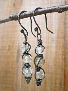 Wire-Wrapped Glass Bead Earrings