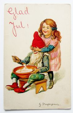 A s Stoopendaal Christmas Little Girl Surprises Elf Gnome Postcard   eBay