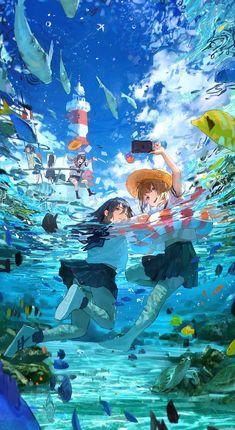 Anime Art Girl, Manga Art, Pretty Art, Cute Art, Yuumei Art, Japon Illustration, Anime Scenery Wallpaper, Cool Anime Backgrounds, Image Manga