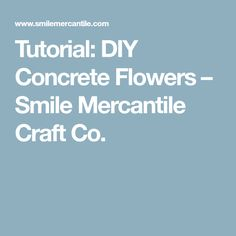 Tutorial: DIY Concrete Flowers – Smile Mercantile Craft Co.