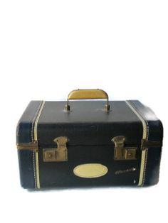Rare Blue Leather Train Case by IvyandMain on Etsy, $65.00