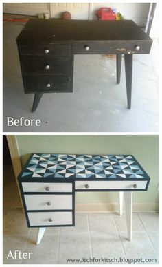 ItchforKitsch.com » DIY Geometric Painted Desk