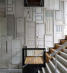 Upcycling - old doors wall panelling (via Campbells Loft fb)