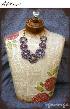 refurbished dress form with book pages and images--great for jewelry display Craft Show Displays, Display Ideas, Display Stands, Booth Ideas, Upcycled Crafts, Diy Crafts, Dress Form Mannequin, Mannequin Heads, Mod Podge Crafts