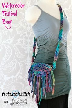 watercolor festival bag FREE crochet pattern by lovin.each.stitch and Cre8tion Crochet- first in the new pocketbook and purse series