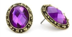 """1928 """"Deep Siberian"""" Gold-Tone Amethyst Oval Faceted Button Earrings"""
