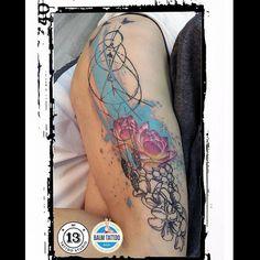 Dream catcher Dream Catcher, Floral Tattoos, Watercolor Tattoos, Dream Catchers, Watercolor Tattoo, Flower Tattoos, Temp Tattoo, Water Color Tattoos, Flower Side Tattoos