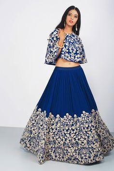 ANEESH AGARWAAL Blue Crop Top And Skirt #flyrobe #weddings #indianbride #lehenga #sangeetlehenga #lehengacholi #designerlehenga