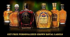 Free Personalized Crown Royal Labels - A friend gave this to me for an engagement present and I thought it was really neat! The best part about it is that it is a free way to personalize a gift no matter what the occasion. You can order up to 3 labels per month. You can also order them for business or events. These might make good wedding favours for our bridal party!
