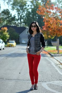 Fall Outfit: Cute Jacket + Striped Top + Red Skinnies