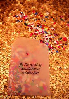 "Details: ""in the event of spontaneous celebration"" wax paper confetti envelopes"