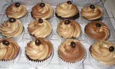 Chocolate Cupcakes with Coffee/Chocolate frosting, topped with a chocolate covered expresso bean