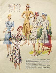 Five completely lovely c. 1940 summer dresses.