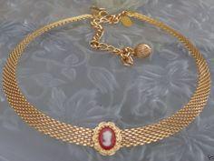 SOLD VTG DESIGNER SGD PARK LANE Victorian Revival Cameo Mesh Choker Necklace Jewelry