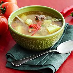 Суп из бараньих ребрышек с чечевицей в мультиварке