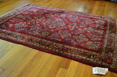 Cherry Red Vintage Persian Sarouk Rug - 3x5