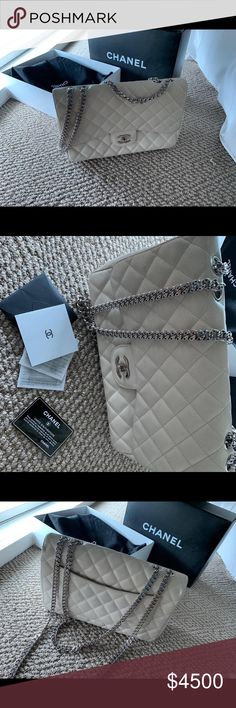 eed9ff25ab Authentic classic quilted Chanel flap bag limited Classic jumbo Chanel flap  bag in cream with unique limited silver chain available.