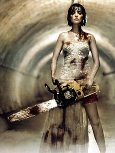 A promo shot from the brilliant (and slightly comedic) horror that is Rec 3. Who can not find a chainsaw wielding bride the ultimate heroine?
