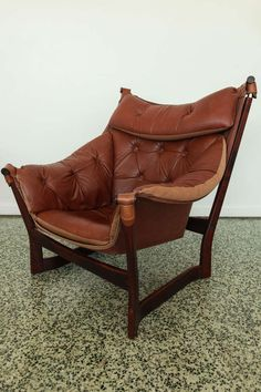 Ingmar Relling for Westnofa Brown Leather Sling Lounge Chair | From a unique collection of antique and modern lounge chairs at http://www.1stdibs.com/furniture/seating/lounge-chairs/
