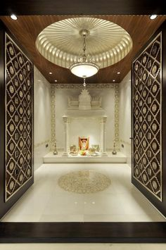 Get ideas and tips on how to make beautiful design of pooja room within a house. These pooja rooms can be created in living room, hall, bedroom or kitchen. Temple Room, Home Temple, Wooden Temple For Home, Temple Bali, Juno Temple, Temple Design For Home, Mandir Design, Pop Ceiling Design, Wooden Ceiling Design