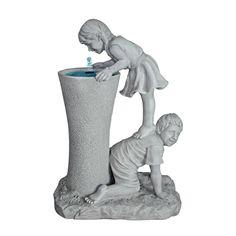 Design Toscano Get a Leg Up Girl and Boy Sculptural Fountain - $349