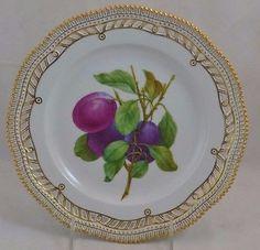 "Royal Copenhagen Flora Danica Pierced Luncheon Plate Plum Perfect 9"" RARE!"