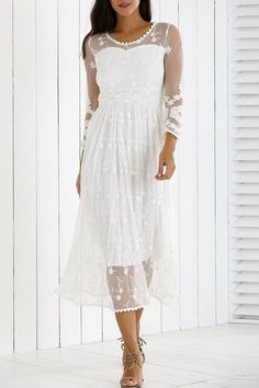 $29.26 Guipure Mesh Laciness Dress - White