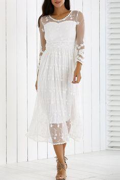 $29.26 Guipure Mesh Laciness Dress - White