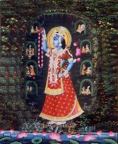 Yamunaji..shrinathji Señor Krishna, Lord Krishna, Kerala Mural Painting, Indian Art Paintings, Rock Painting Designs, Religious Images, Hindu Deities, Hindu Art, Indian Gods