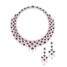 RUBY AND DIAMOND NECKLACE AND PAIR OF MATCHING PENDENT EARRINGSMagnificent Jewels & Jadeite   Sotheby's