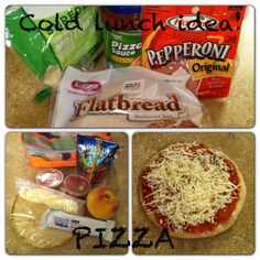 Cold lunch idea for school!  A spin off of a pizza lunchable.  Kids are loving it!  We have also used English muffins-yum!
