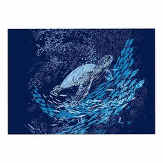 KESS InHouse Frederic Levy-Hadida 'The Turtle Way' Aqua Blue Dog Place Mat, 13' x 18' ** Awesome dog product. Click the image : Dog food container