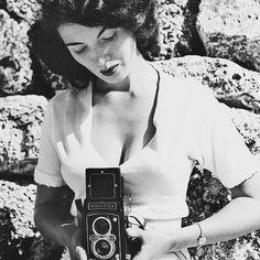 """Linnea Eleanor """"Bunny"""" Yeager (1929  2014) was a photographer author and model from Wilkinsburg Pennsylvania near #Pittsburgh. She moved to Miami at 17 and after winning multiple beauty pageant titles entered the world of swimsuit modeling. She designed and created many of the designs she wore and is credited with helping to popularize the bikini swimsuit in the US. In 1953 Yeager enrolled in night school for photography as a way to save money on copying her photographs but quickly…"""