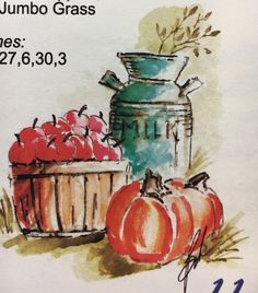 art impressions - watercolor - markers - catalog photo - basket of apples