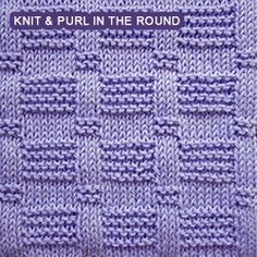 Simple knit and purl pattern for knitting in the round | knitpurlstitches.com